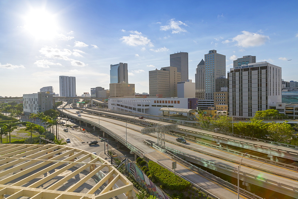 View of Miami freeway in Downtown Miami, Miami, Florida, United States of America, North America
