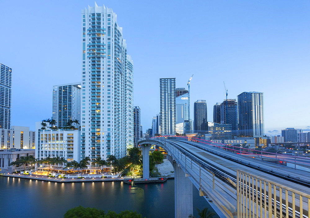 View of Downtown Miami from Metrorail Station, Miami, Florida, United States of America, North America
