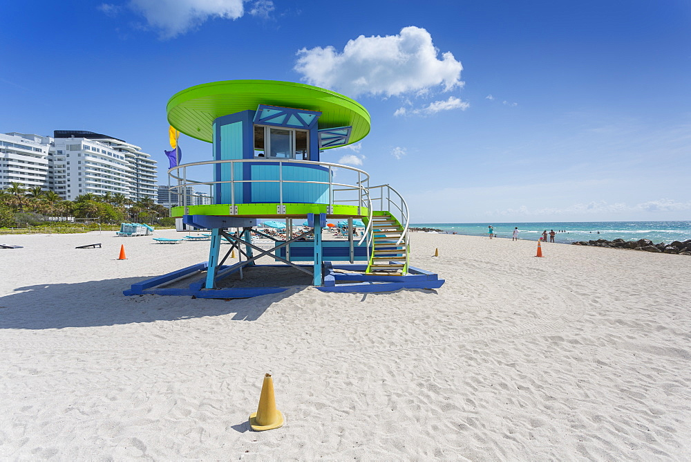 Lifeguard watchtower on South Beach, Miami Beach, Miami, Florida, United States of America, North America