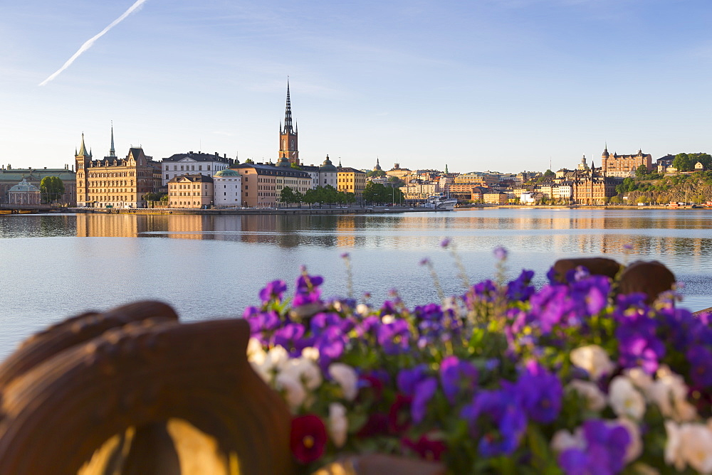 View of Riddarholmen and Sodermalm at dawn from near Town Hall, Stockholm, Sweden, Scandinavia, Europe