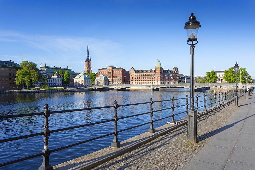 View of Riddarholmen Church from Gamla Stan, Riddarholmen, Stockholm, Sweden, Scandinavia, Europe