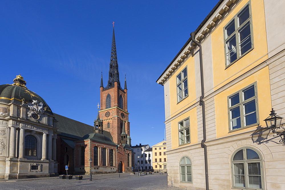 View of Riddarholmen Church at dusk, Riddarholmen, Stockholm, Sweden, Scandinavia, Europe