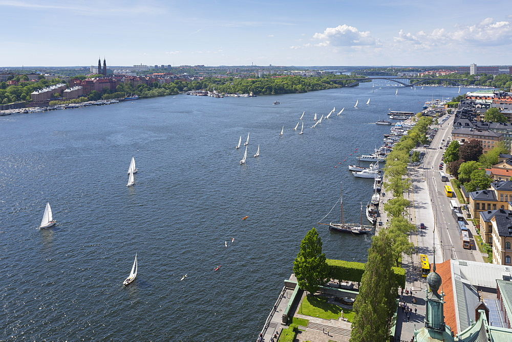View of yacht race from Town Hall Tower on Sweden's National Day, Stockholm, Sweden, Scandinavia, Europe