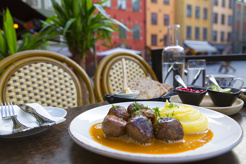Traditional Swedish dish of meatballs, Old Town Square, Gamla Stan, Stockholm, Sweden, Scandinavia, Europe