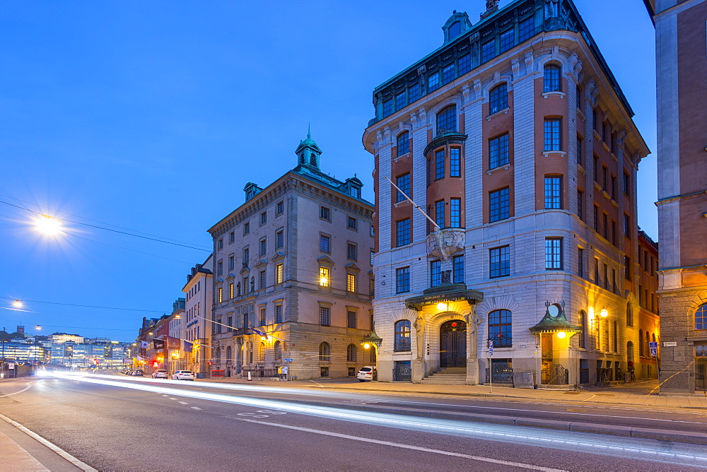 Architecture on Skeppsbron at dusk, Gamla Stan, Stockholm, Sweden, Scandinavia, Europe