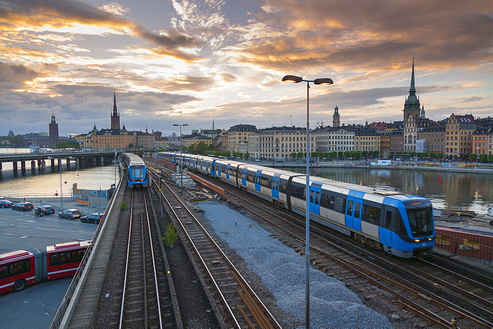 Riddarholmen Church and city skyline, trains from Sodermalm, Stockholm, Sweden, Scandinavia, Europe - 844-13449