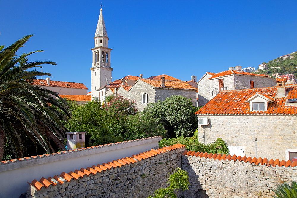 Church belltower from City Wall, Old Town, Budva, Montenegro, Europe