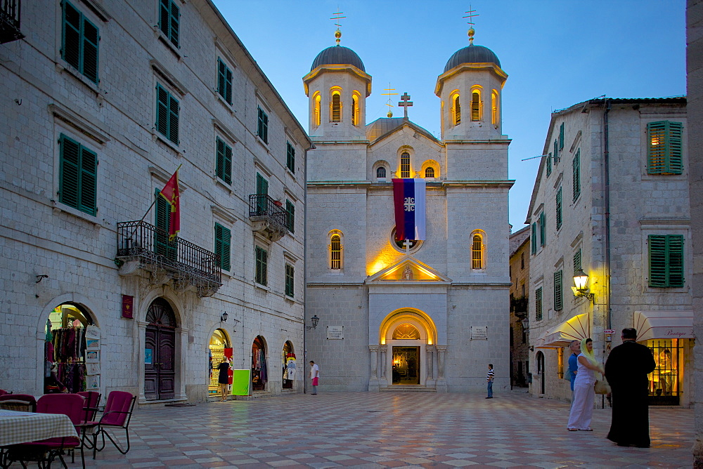 St. Nicholas Serbian Orthodox Church at dusk, Old Town, UNESCO World Heritage Site, Kotor, Montenegro, Europe