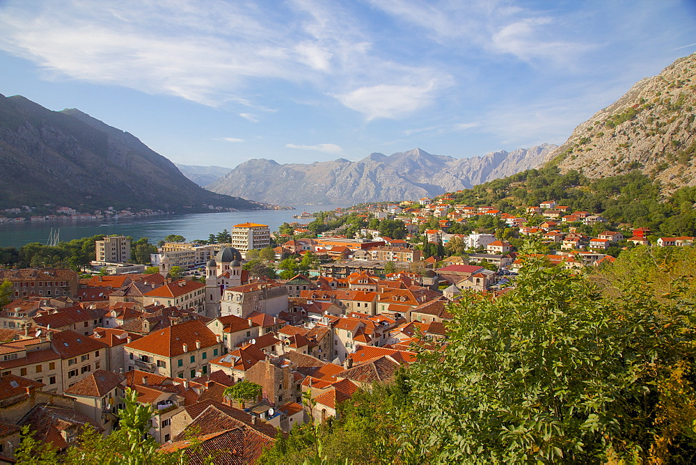 View over Old Town, Kotor, UNESCO World Heritage Site, Montenegro, Europe