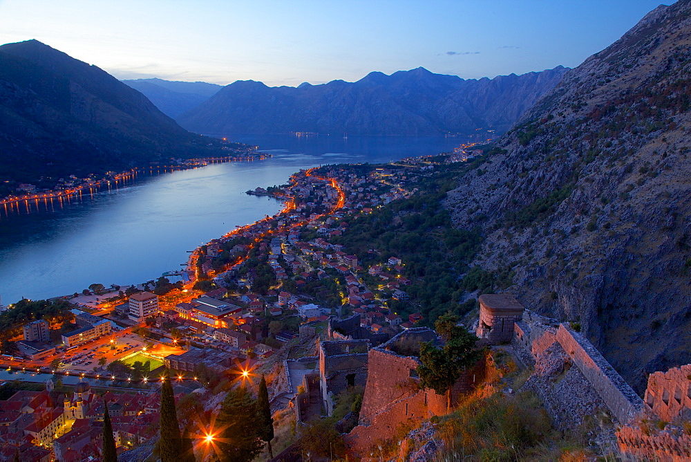 View of Bay of Kotor from Fortress at dusk, Kotor, UNESCO World Heritage Site, Montenegro, Europe