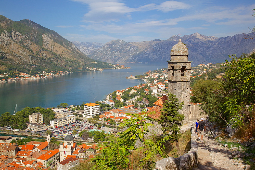 Chapel of Our Lady of Salvation and view over Old Town, Kotor, UNESCO World Heritage Site, Montenegro, Europe