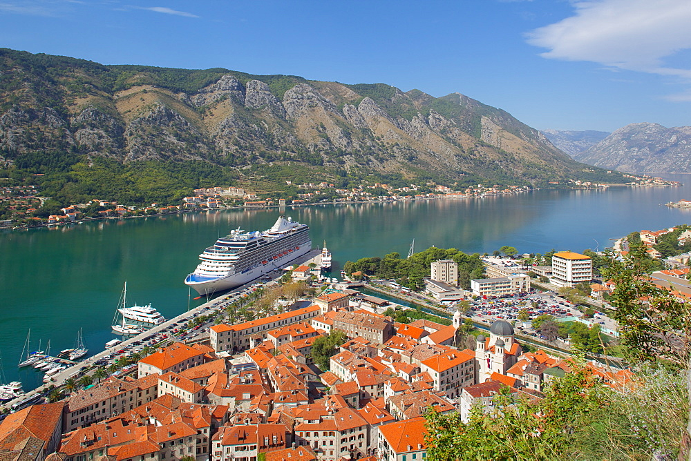 View over Old Town and cruise ship in Port, Kotor, UNESCO World Heritage Site, Montenegro, Europe