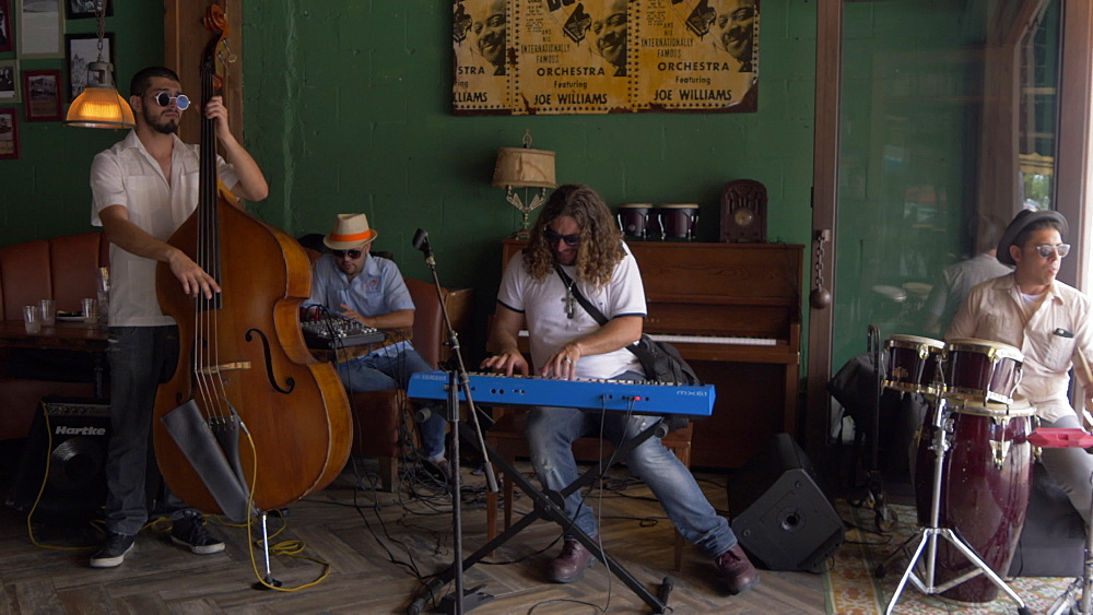 Local musicians playing in Cuban bar on 8th Street in Little Havana, Little Havana, Miami, Florida, USA - 844-14194