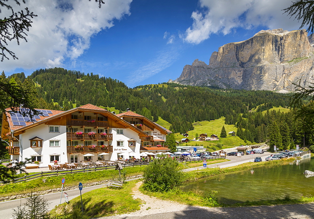 Hotel Lupo Bianco Wellness and Walking Canazei, Passo Pordoi with mountain backdrop, South Tyrol, Italian Dolomites, Italy, Europe