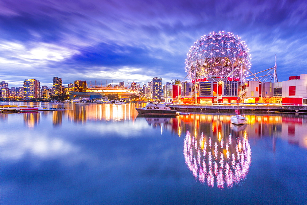View of False Creek and Vancouver skyline, including World of Science Dome, Vancouver, British Columbia, Canada, North America - 844-14431