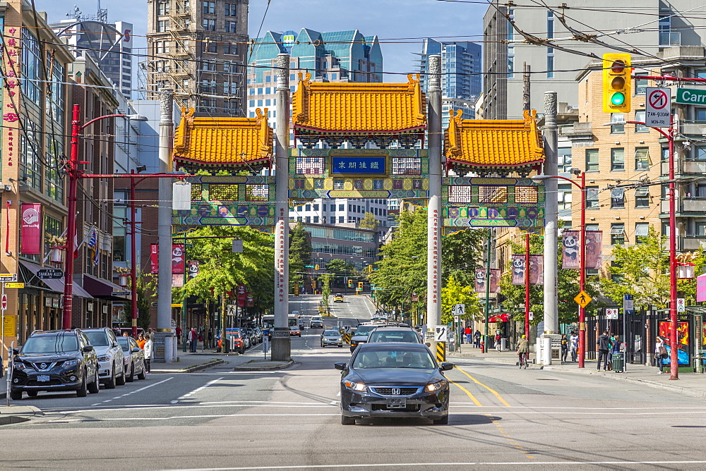 Colourful entrance to Chinatown, Vancouver, British Columbia, Canada, North America - 844-14436