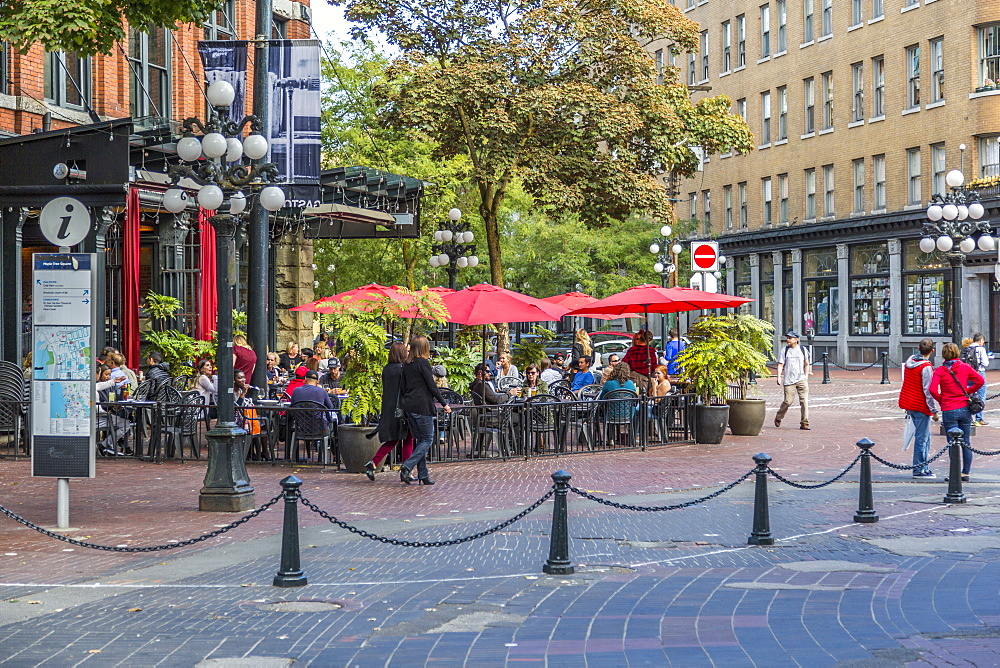 Cafe and bar in Maple Tree Square in Gastown, Vancouver, British Columbia, Canada, North America - 844-14438