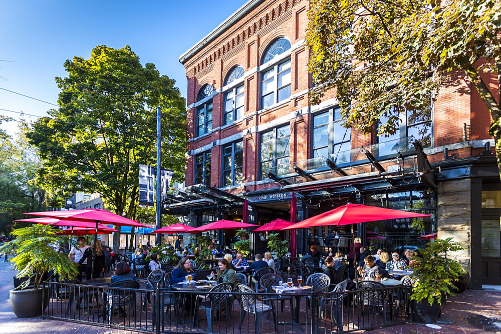 Cafe and bar in Maple Tree Square in Gastown, Vancouver, British Columbia, Canada, North America - 844-14443