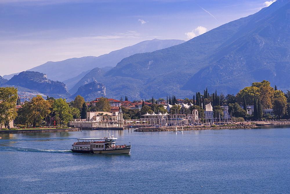 View of ferry leaving the harbour of Riva del Garda, Lake Garda, Trentino, Italy, Europe