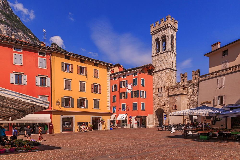View of Porta di San Michele in Piazza Cavour, Riva del Garda, Lake Garda, Trentino, Italy, Europe