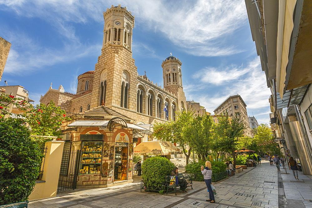 View of St. Irene Orthodox Church and souvenir shop, Monastiraki District, Athens, Greece, Europe
