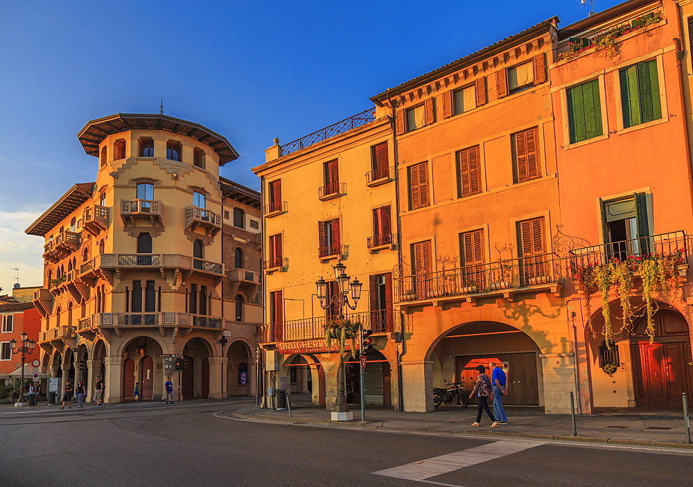 View of architecture in Prato della Valle during golden hour, Padua, Veneto, Italy, Europe