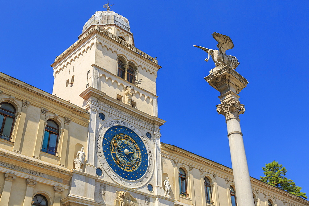 Cyclists passing ornate facade of Torre Dell'Orologio in Piazza dei Signori, Padua, Veneto, Italy