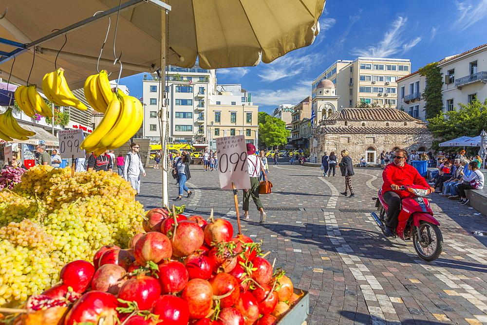 View of fruit stall and Greek Orthodox Church in Monastiraki Square, Monastiraki District, Athens, Greece, Europe