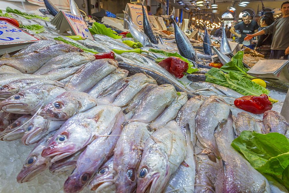 Interior view of fishmongers stall in Central Market, Monastiraki District, Athens, Greece, Europe