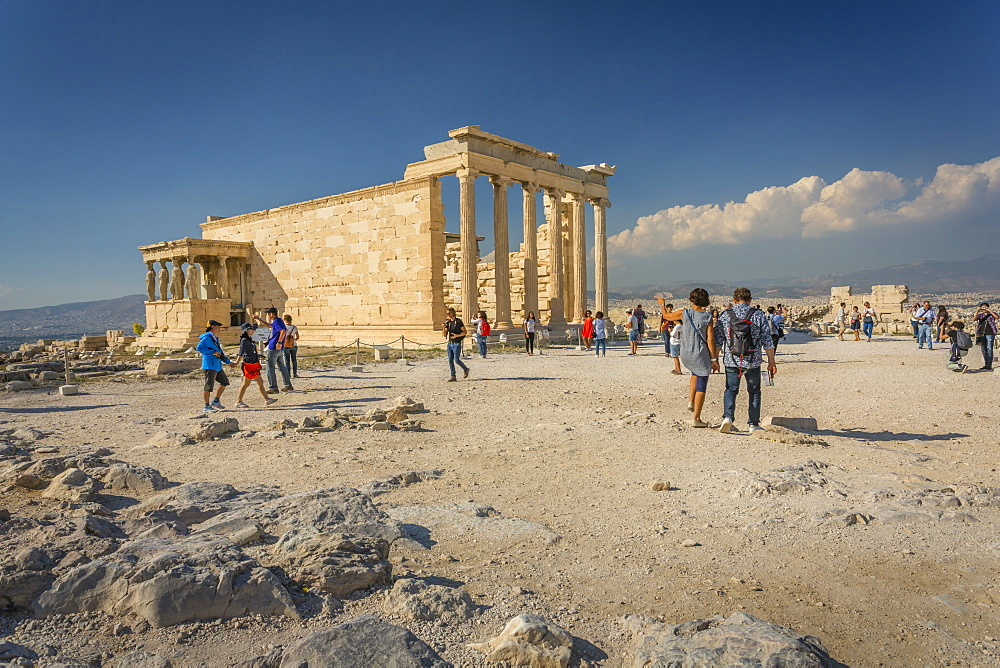 View of Erechtheion Temple with six Caryatids, The Acropolis, Athens, Greece, Europe