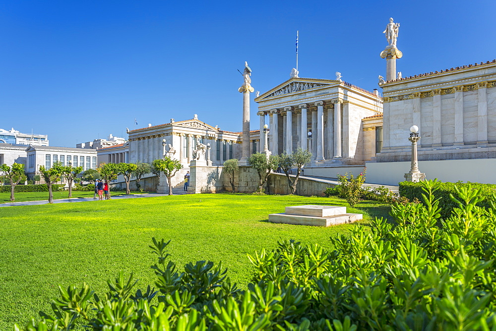 View of Academy of Arts, National Institution for Sciences, Humanities and Fine Arts, Athens, Greece, Europe