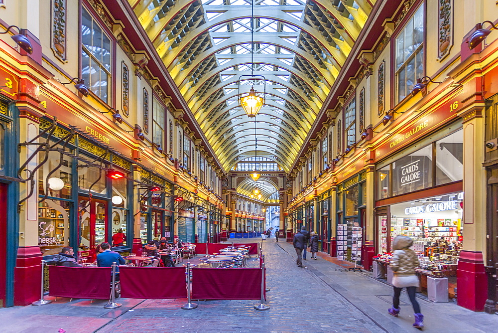 View of interior of Leadenhall Market, The City, London, England, United Kingdom, Europe