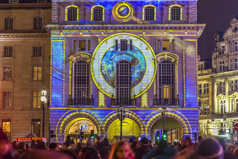Illuminated building on Piccadilly Circus during London Lumiere, London, England, United Kingdom, Europe - 844-15244
