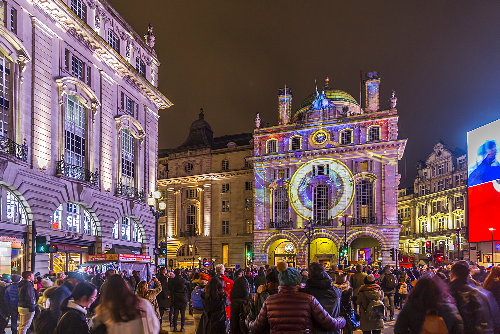 Illuminated building on Piccadilly Circus during London Lumiere, London, England, United Kingdom, Europe - 844-15245