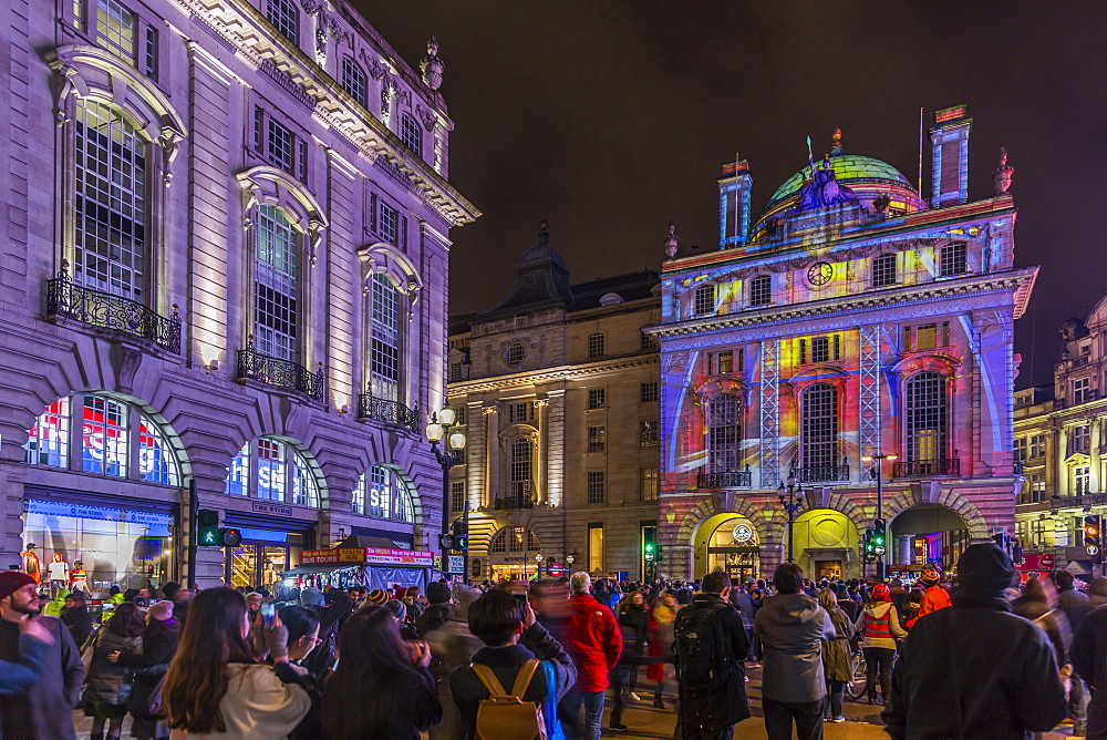 Illuminated building on Piccadilly Circus during London Lumiere, London, England, United Kingdom, Europe
