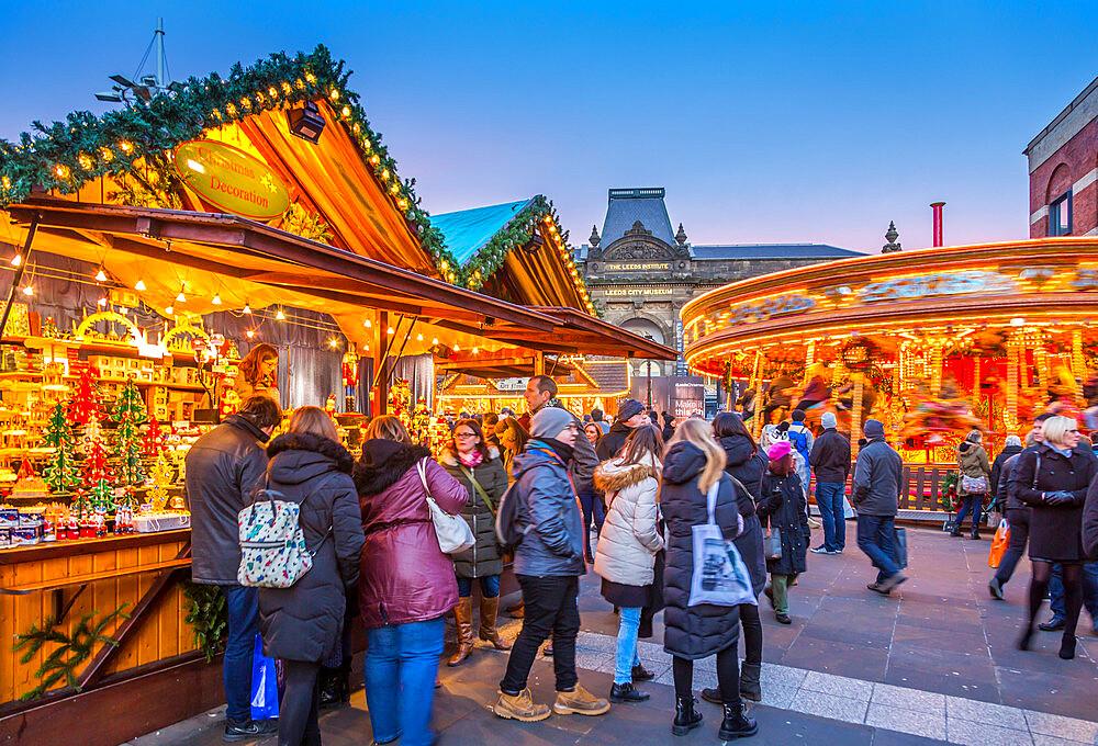 Christmas Market stalls at Christmas Market, Millenium Square, Leeds, Yorkshire, England, UK, Europe