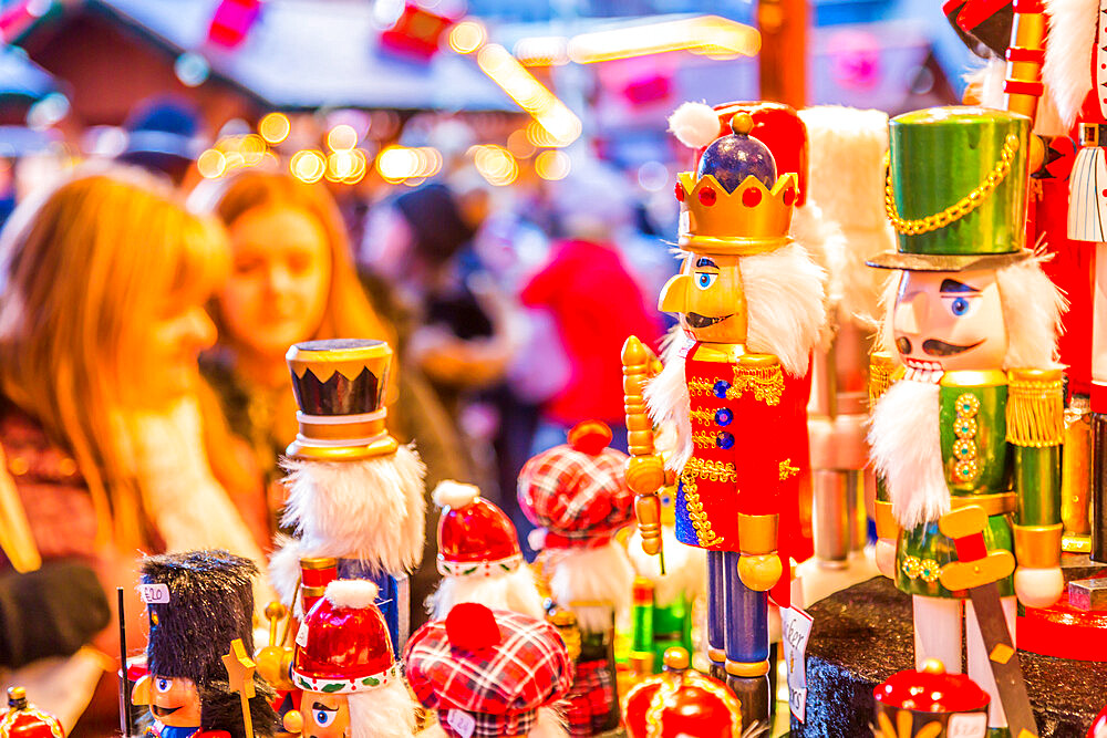 Wooden soldiers on Christmas Market stall at Christmas Market, Millenium Square, Leeds, Yorkshire, England, UK, Europe