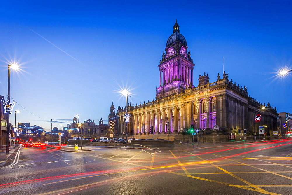 View of Leeds Town Hall at Christmas, Leeds, Yorkshire, England, UK, Europe