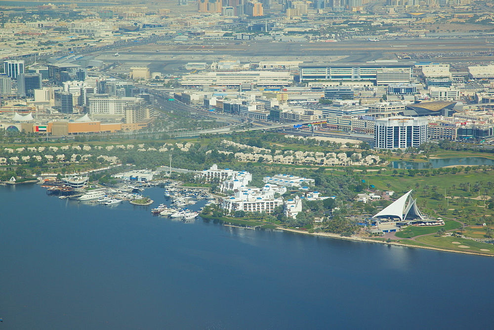 View of The Creek from seaplane, Dubai, United Arab Emirates, Middle East