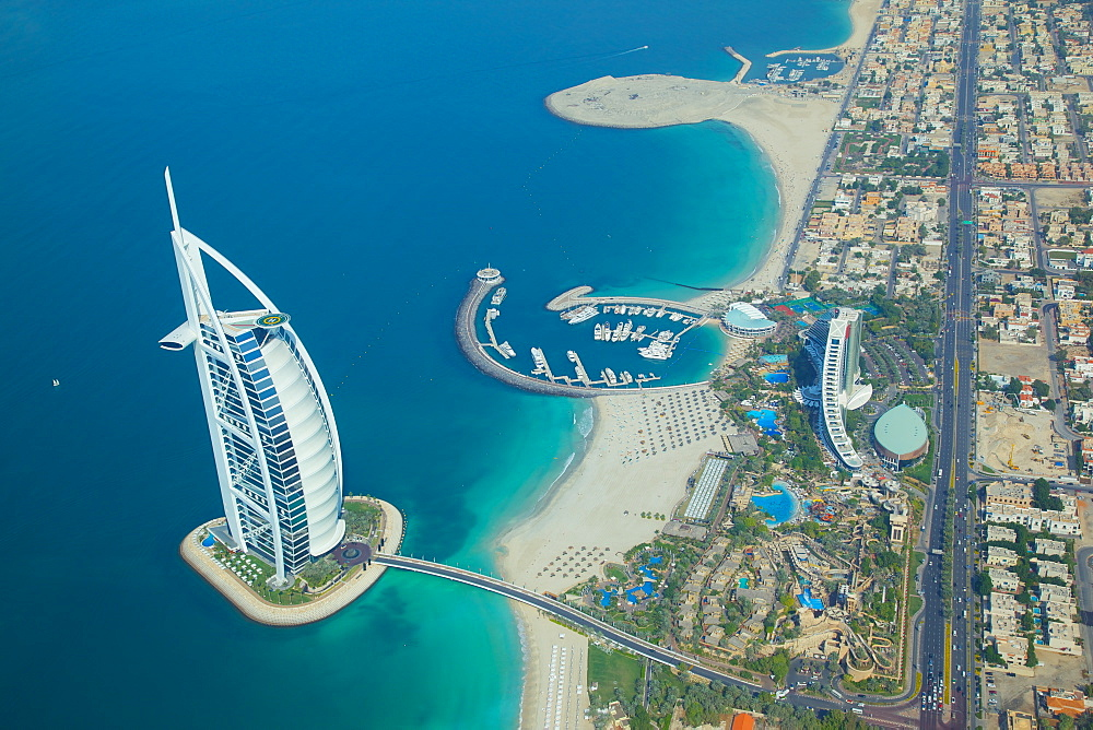View of Burj Al Arab from seaplane, Dubai, United Arab Emirates, Middle East