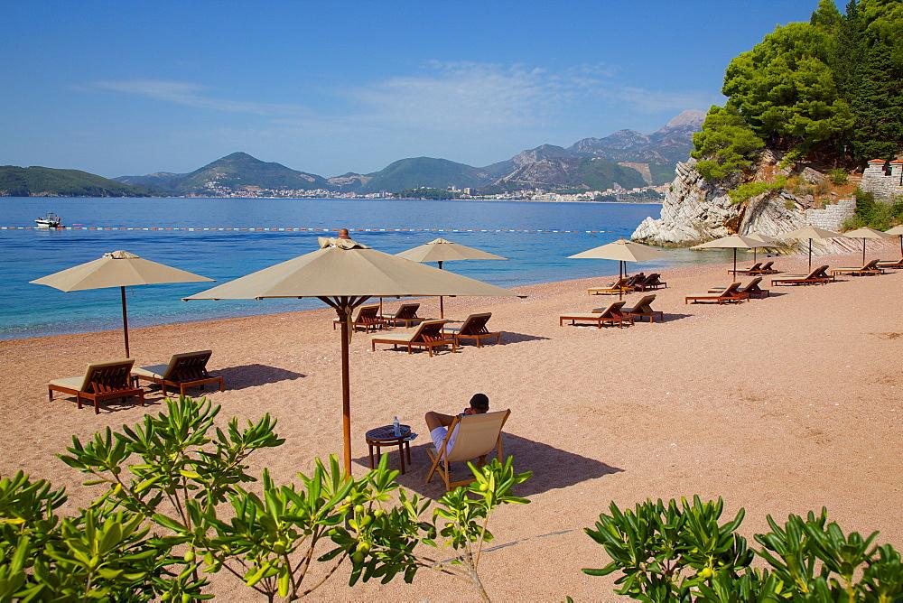 Beach scene, Sveti Stefan, Budva Bay, Budva Riviera, Montenegro, Europe