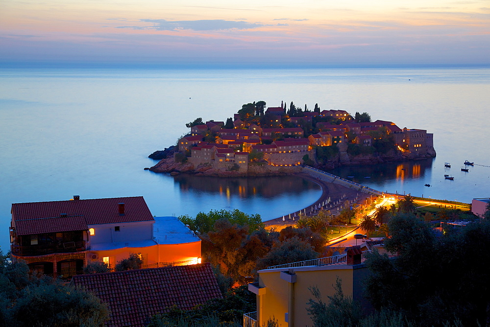 Sveti Stefan after sunset, Budva Bay, Budva Riviera, Montenegro, Europe