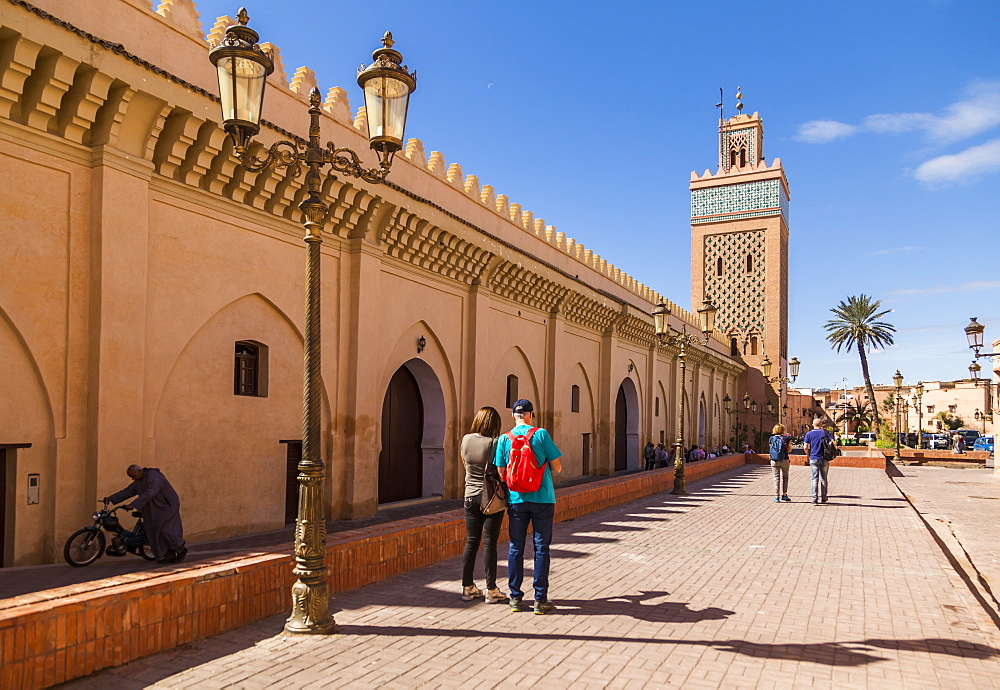 View of Moulay El Yazid Mosque framed with ornate lampost, Marrakesh, Morocco, North Africa, Africa