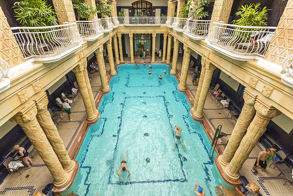 People bathing in Gellert Thermal Baths, Budapest, Hungary, Europe