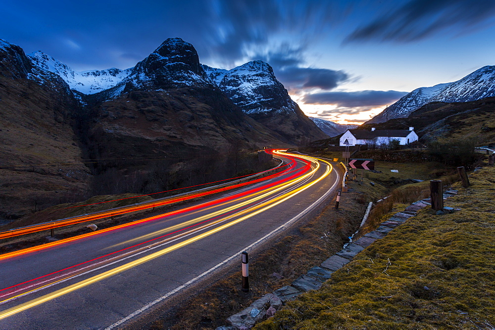 View of road through the Glencoe Valley at dusk, Glencoe, Highland Region, Scotland, United Kingdom, Europe - 844-16161