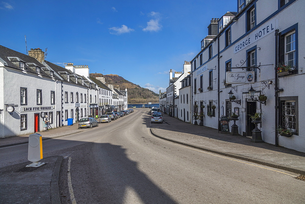 View of old buildings on the main street of Inveraray, Argyll and Bute, Scotland, United Kingdom, Europe