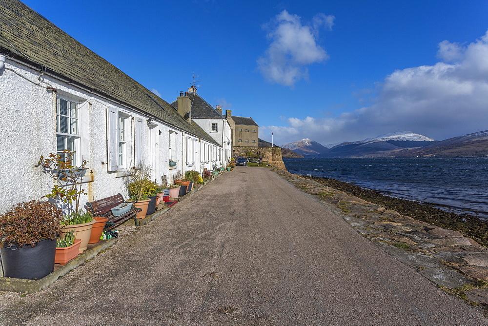 View of Inveraray village and the Loch Fine estuary, Argyll and Bute, Scotland, United Kingdom, Europe