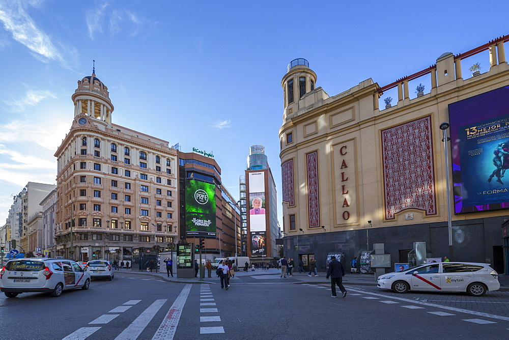 View of Plaza del Callao on bright sunny morning, Madrid, Spain, Europe