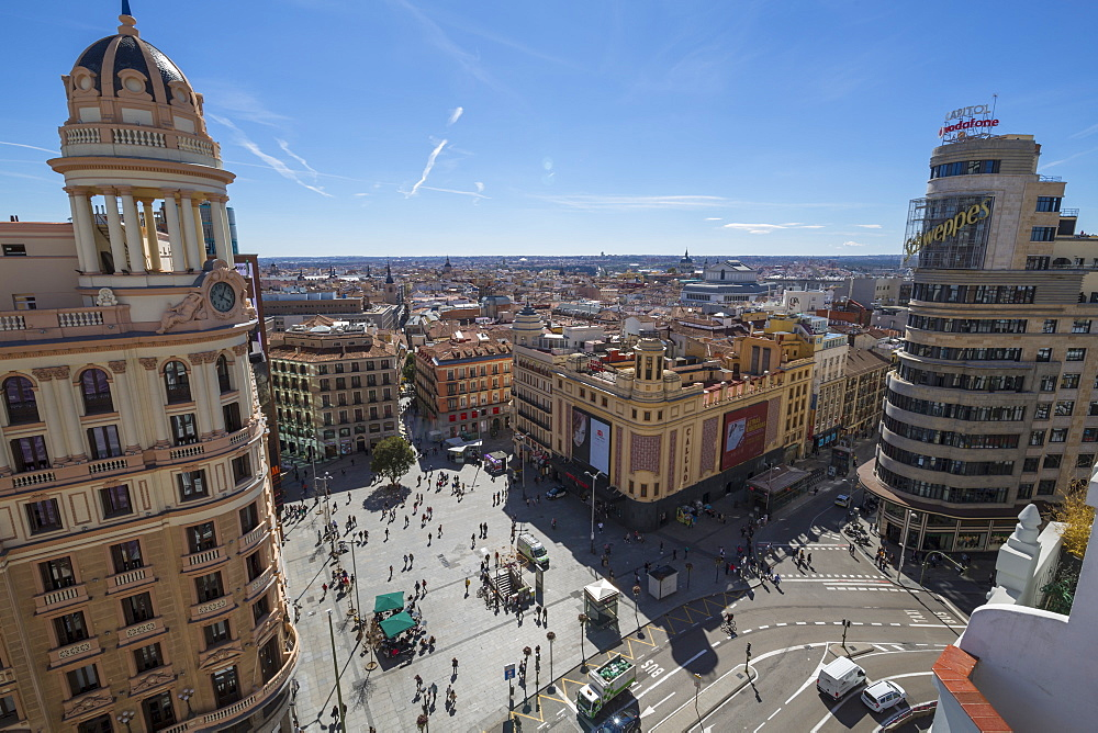View over the rooftops of Madrid from Plaza del Callao, Madrid, Spain, Europe