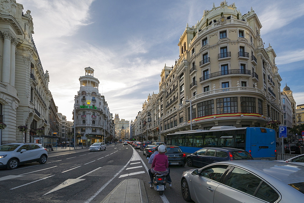 View of traffic on Gran Via at early evening, Madrid, Spain, Europe